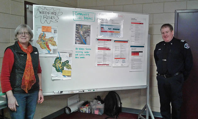 In Revelstoke, Cindy Pearce, Community Wildfire Protection Contractor, and Dwayne Voykin, the City's Emergency Program Coordinator, are helping the City undertake several steps to reduce the threat of wildfire.