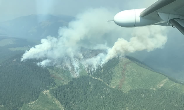 Blazed Creek wildfire on Kootenay Pass, taken on August 8, 2018.