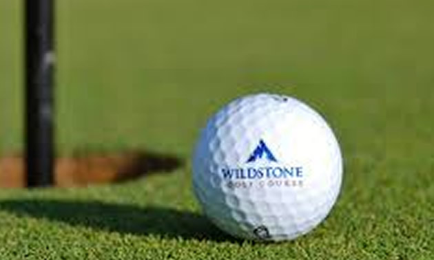 Close-up of golf ball on green.