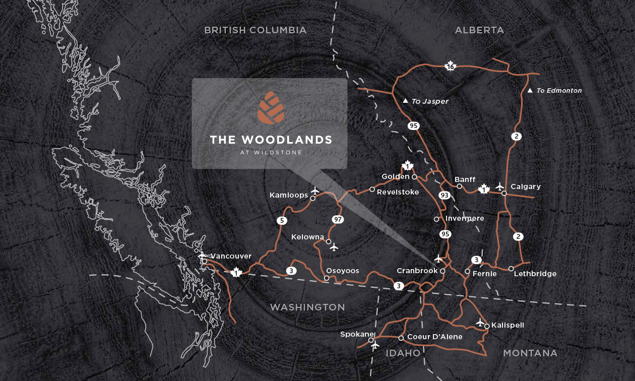 A map showing the location of The Woodlands from all areas in Alberta and B.C.