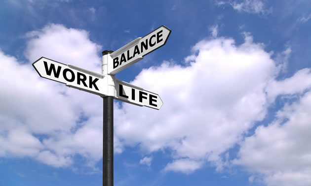 Signpost with 'work, 'life' and 'balance' pointers.