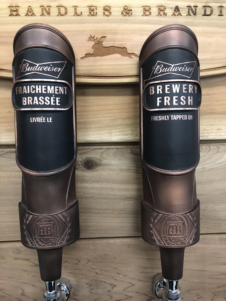 Wylie Jack Tap Handles & Branding taps for Budweiser.