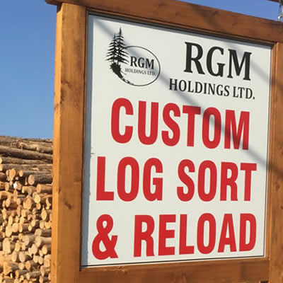 Sign for the custom log sort and reload centre in Yahk.