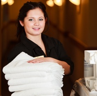 Ashley Hill, a housekeeper at Ainsworth Hot Springs Hotel.