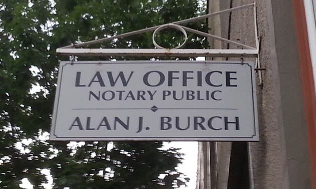 Alan Burch Law Office sign.