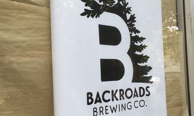 Sign for Backroads Brewing Company.