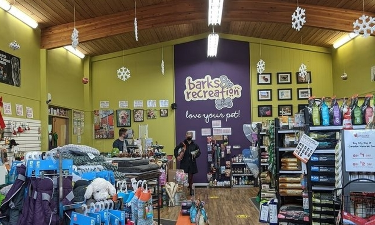 interior of Barks and Recreation, with pet supplies on various racks