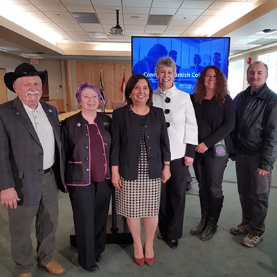 From left, RDCK Area H director Walter Popoff, Silverton Coun. Leah Main, Minister of Citizens' Services Jinny Sims, Minister of Children and Family Development Katrine Conroy, Slocan Mayor Jessica Lunn and Nakusp Mayor Tom Zeleznik.
