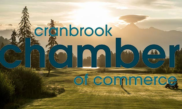 Scenic picture of Cranbrook-area golf course and Cranbrook Chamber of Commerce logo.