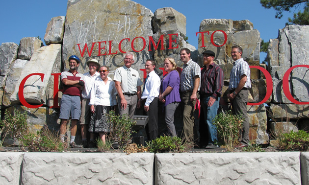 Cranbrook mayor Wayne Stetski (fourth from left) is pictured at the grand opening of the new and improved Elizabeth Lake entrance to the city.