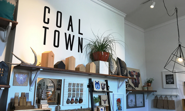 Coal Town shop interior with wooden handmade items and other merchandise