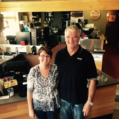 Photo of Brenda and Todd Bannister, owners of the new coffee house in Marysville, Timber Hitch Coffee.