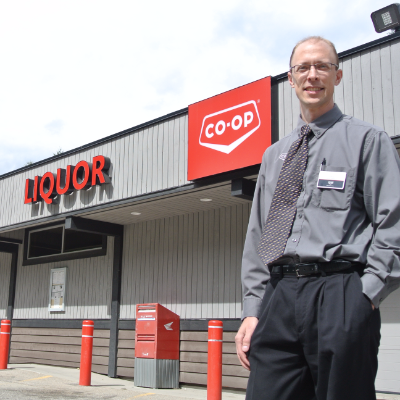 General manager Chris Sapriken stands outside the store.