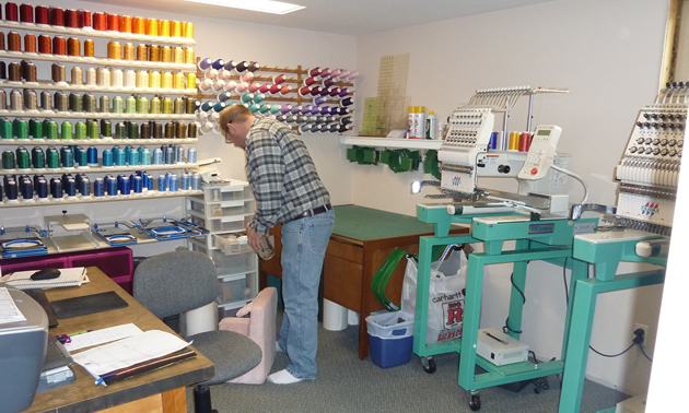 The embroidery room at Creative Custom Embroidery.