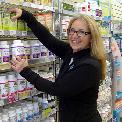 Dawn Torgerson in the vitamin aisle at Nutter's Bulk & Natural Foods.