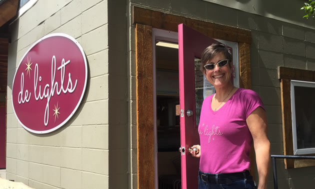 Picture of owner Erna Jenson, and her new business 'de-lights', a gelato shop in downtown Kimberley.