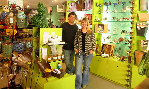 man and his wife in a garden centre in South Slocan, BC