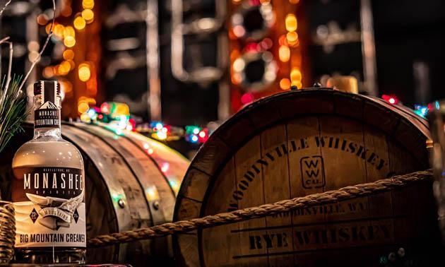 Whiskey-keg and bottle of Monashee Spirits Craft Distillery product.