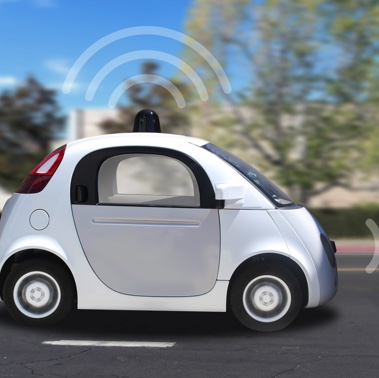 Autonomous self-driving driverless vehicle with radar 3D render.