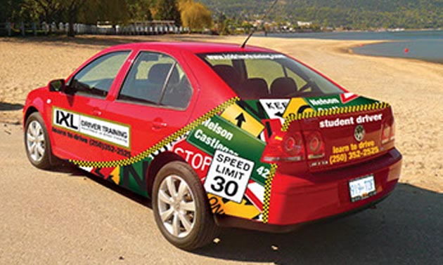 Picture of driving school car.