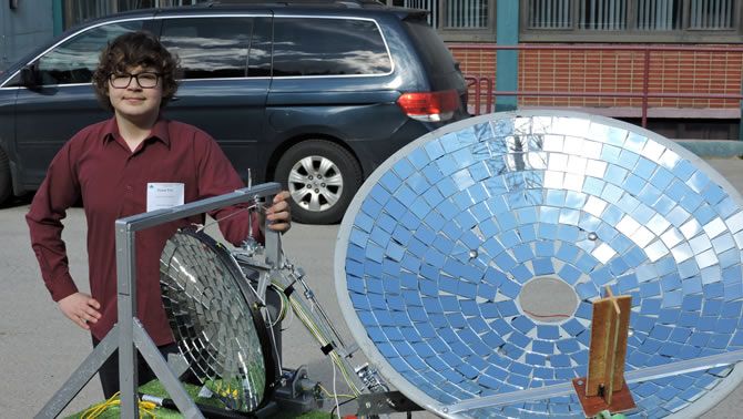 Dylan Peil, a Grade 9 student at LV Rogers Secondary School,  designed and prototyped an Active Solar Tracker using a satellite dish covered with mirrors.