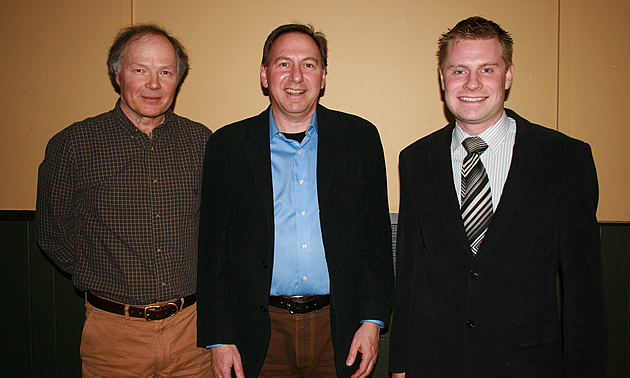 Photo of Juri Peepre, Mark Anielski and the mayor of the District of Invermere, Gerry Taft