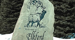 Elkford sign engraved in a rock
