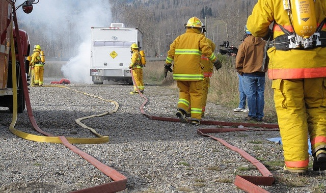 A photo of an emergency exercise held in Hosmer, BC in 2011.