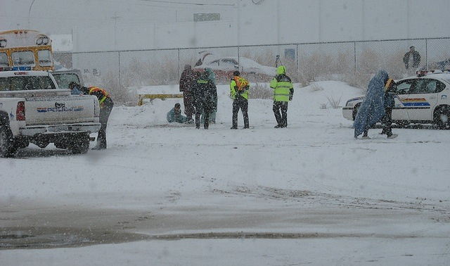 An emergency exercise held at Kootenay Transfer Station while it was snowing.