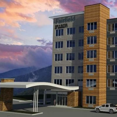 An artist's rendition of the proposed Fairfield Inn in Revelstoke.