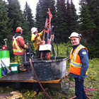 Drilling at Wapiti East near Tumbler Ridge in August of 2013. Les Szonyi is in the foreground. The Marten project will be Fertoz's fifth Canadian project.