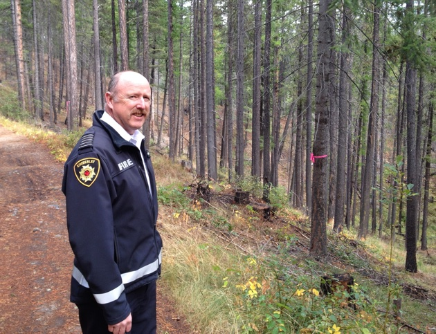 Fire Chief Al Collinson overlooks a forest in the Kimberley Nature Park that has been thinned to reduce wildland fire risks.