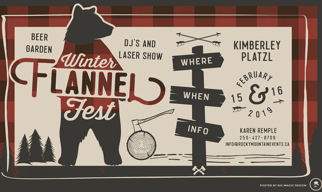 graphic design with a bear logo and event info