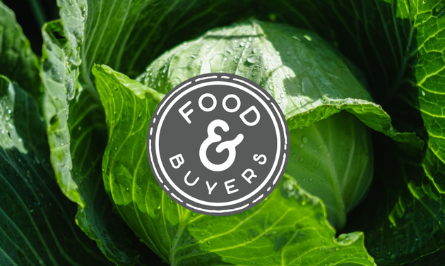 Green leaves with a logo for Food & Buyers