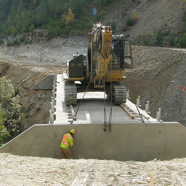 Bridge installation steps on the Columbia West Bridge, located 40 kilometres from Golden, B.C.