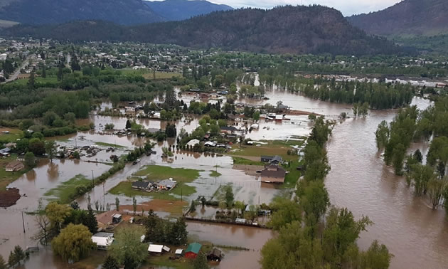 Aerial view of flooding in the community of Grand Forks, B.C.