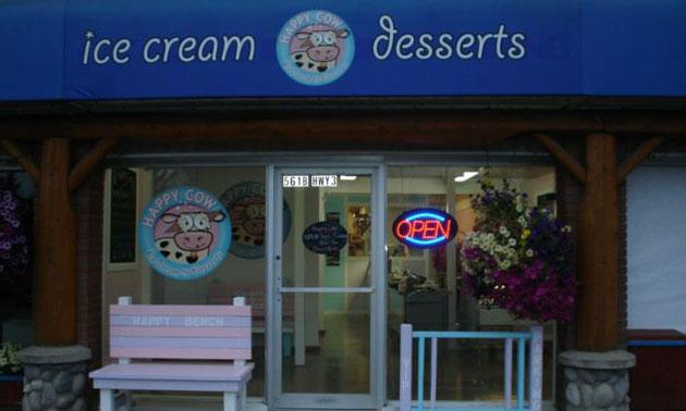 Exterior of Happy Cow Ice Cream.