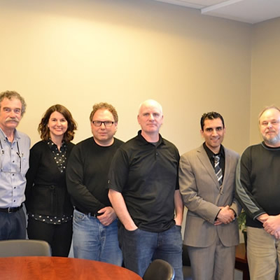 A grassroots group is looking to build connections between entrepreneurs and innovators in the community to strengthen Castlegar's entrepreneurial culture. Pictured from left to right are: Gregg Neelin, Consultant; Andrea Wilkey, Community Futures; Dan Salekin, Columbia Networks Inc; Jason Taylor, Selkirk College; Arry Dhillon, City of Castlegar and Ron Perepolkin, Community Futures.