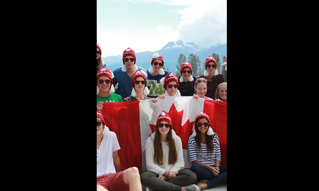 Welcome to Canada! Newly arrived international students on Orientation Day at Revelstoke Secondary School (September, 2013).