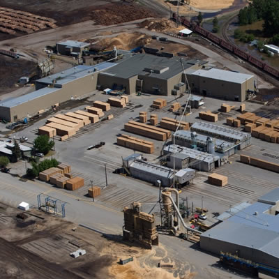 Aerial view of the Interfor Sawmill in Grand Forks, B.C.