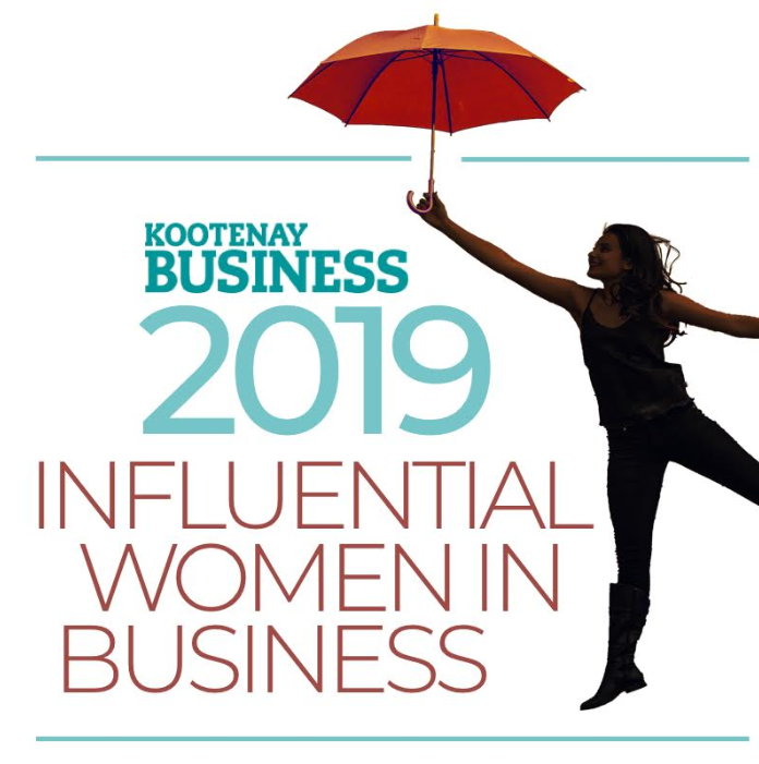 a graphic of a woman with an umbrella raised, and the words 2019 Influential Women in Business