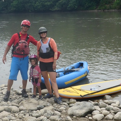 Chris and Andrea of Endless Adventures pose with their daughter Raddison, showing how to be safe while on the water.  Always wear a life jacket!