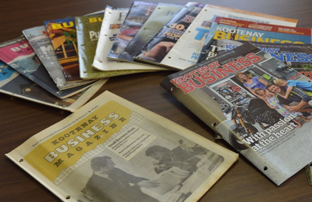 A number of issues of the Kootenay Business magazine, including the first edition published in 1985.