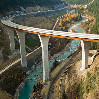 The dramatic Kicking Horse Bridge was part of an earlier upgrade on Highway #1.