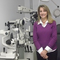 Optometrist, Christine Chatten in her own practice.