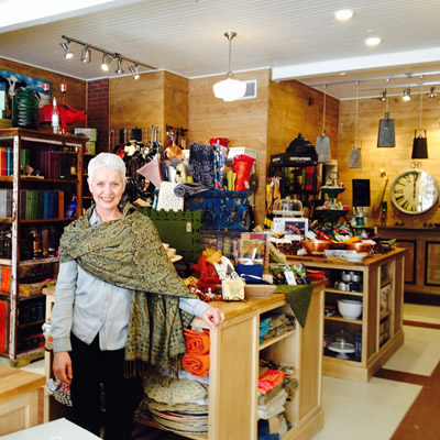Robin Dixon is standing in the middle of her store, The Grater Good in Kimberley's Platzl, surrounded by a rainbow of colourful kitchen items—from dishware and linens to kitchen appliances, gadgets, and pots and pans.