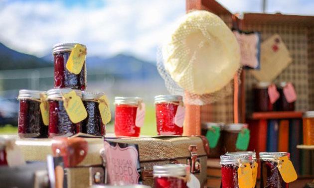 Jars of jam at Farmers Market.