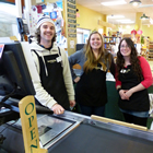 Kootenay Co-op staff from left to right: Andrew Duff, Julia Hamilton, Alexa Cramton.