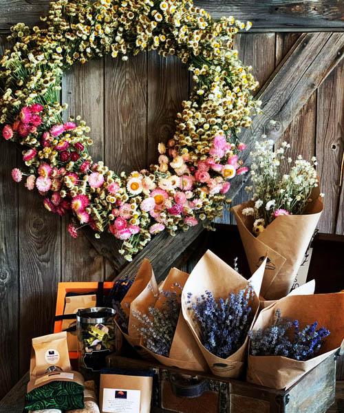 Wreaths, lavender bouquets for sale.