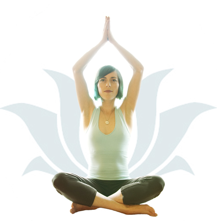 Lucka in the lotus yoga position